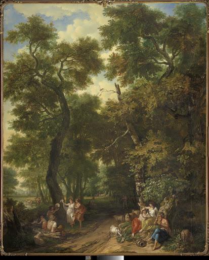 音楽家たちと踊っている羊飼いがいる、アルカディアの風景