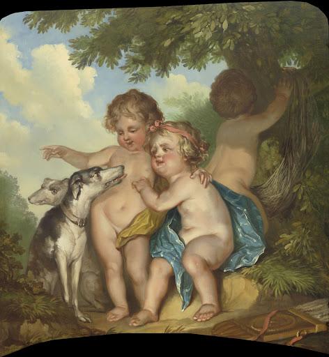 二匹の犬と三人の子ども