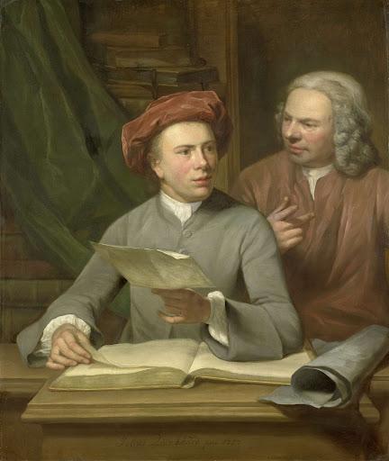 自画像。彼の父と教師ヤン・モーリッツ・キーンハルド(1688-1772)の側に立っている画家