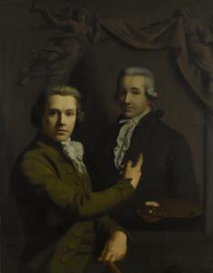 自画像、死亡した画家の同僚のダーク・ヤコブス・プローグスマ(1769-91)の肖像を指差している
