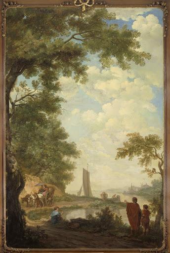 川岸に人がいる、アルカディアの風景