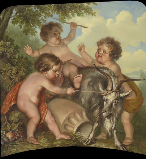 ヤギと遊んでいる三人の子どもたち