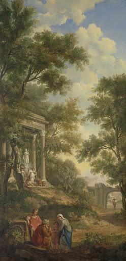 左に寺院、前方に座っている老人がいる、アルカディアの風景