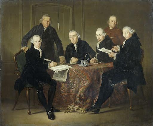1773年、ハンセン病患者の家の四人の摂政と秘書官、家長