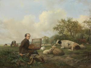 牧草地の牛を描いている画家