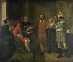 1575年、スペイン総督にマルニクス・ヴァン・ジント・アルデホンデを開放するようお願いしているヤコブ・シモンズ・デ・ライク