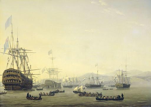 1816年8月26日、アルジェの砲撃に先立ってエクスモウス卿に指揮された、「シャーロッテ王女号」の上での軍事会議