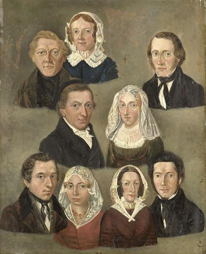 家族といっしょの、作者の両親、ドーヴェス・マルテンス・テーンストラとバルベル・ヒンドリクス・シッカマの肖像