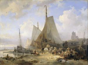 釣り人と魚を並べる女性がいる海辺の釣り船