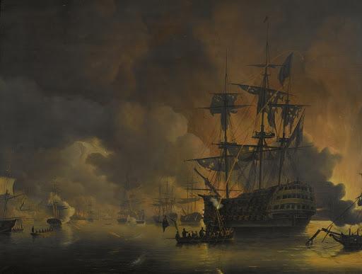 1816年8月27日、アングロ・ダッチ・フリートによる砲撃開始直後の、アルジェの埠頭の火事
