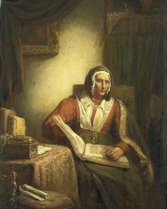 本を読む年配の女性