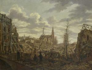 1807年1月12日の火薬船爆発三日後のライデン、ラーペンブルグ