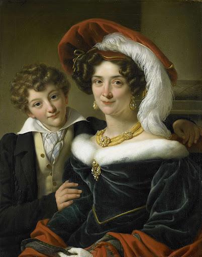 ルドルフィア・ウィルへルミナ・エリザベス・デ・ステュラー(1798-1873)、伯爵ヨハネス・ファン・デン・ボスの二番目の妻と彼らの息子リヒャルド・リーウェンハート