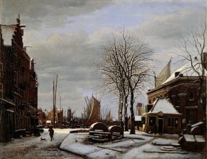 冬の、海商法事務所の建物の近くのアムステルダムの砥石市場