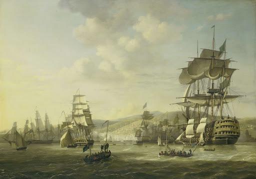 1816年8月26日、キリスト教奴隷を開放するために最後尾をバックアップしている、アルジェ港のアングロ・ダッチの艦隊