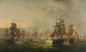 1804年、ブローニュでオランダの小艦隊の通路の間を英蘭連合艦隊の衝突