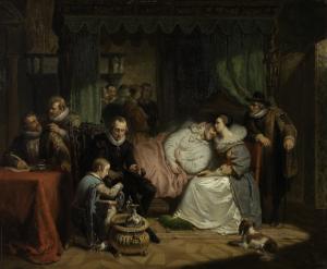 1582年、アントワープでジャン・ヤウレクイに危うく命を奪われそうになり、妻シャーロッテ・デ・ブルボンに介抱されているウィリアム王子1世