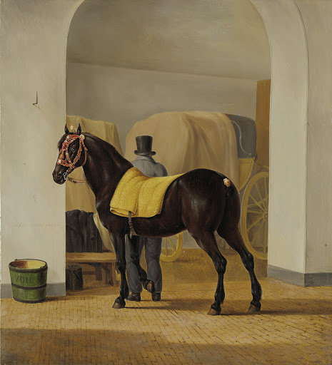 エイドリアーン・ファン・デル・フープの競走馬「デ・ロット」、大型馬車の家にて