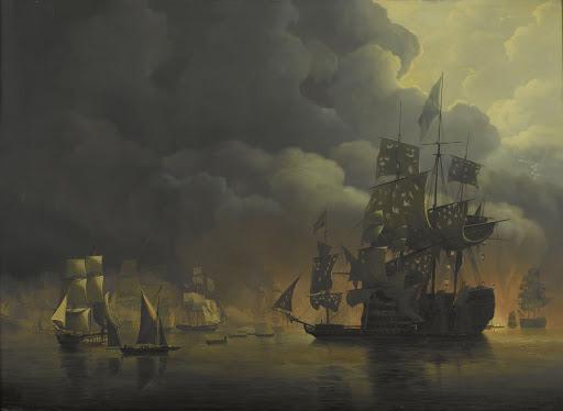 1816年8月27日、エクスマス卿と海将ヨンクヘール・テオドルス・フレデリック・ヴァン・カペレンの元、アルジェリアの要塞を攻撃する、英蘭連合艦隊