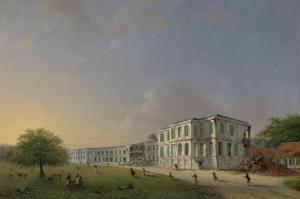 1834年10月19日の地震の期間のボゴール宮殿の正面の景観