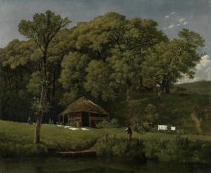 ヘルダーランドの小川の湖畔の納屋