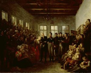 オラニエ家の王子が医療福祉孤児院の水害被害者を訪問する、アムステルダム、1825年2月14日