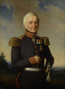 大将の制服を着ている、オランダ東インド会社の理事会の一員、ヒュイベルト・ヘラルト・バロン・ナーハイス・ヴァン・ブルフスト(1782-1858)