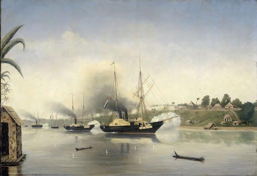 1858年9月8日、政府軍艦「セレベス」、「キンスベルヘン総督」「ウンレスト」による、ジャンビのスルタン、クラトンの砲撃