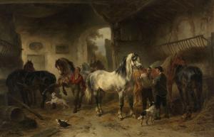馬と人がいる、馬小屋の中