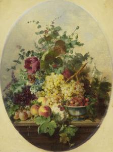 果物と花の静物