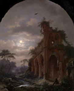 月光の下、廃墟の近くで瞑想している僧