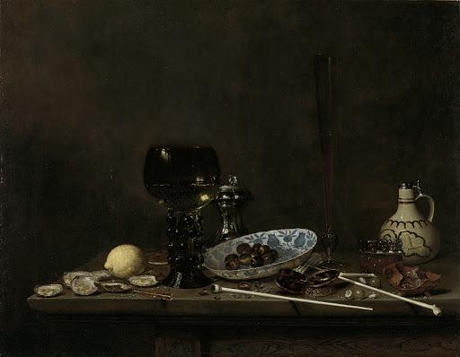 ルーマー、背が高く細いワイングラス、陶器のジャグ、パイプの静物