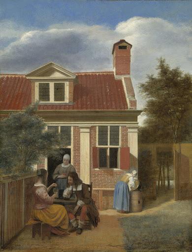 家の後ろの中庭の人影
