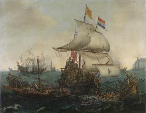 イギリス海峡を離れて、オランダ船とスペインのガレー船の衝突、1602年10月3日