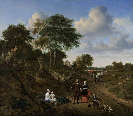 風景の中の二人の子どもと乳母、夫婦の肖像