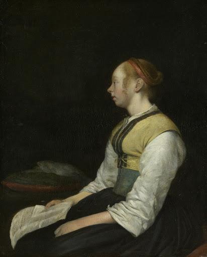 農民の格好をして座っている少女