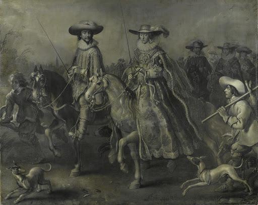 プファルツの選挙人、ボヘミア王、フリードリッヒ5世(1596-1632)と馬に乗った妻エリザベス・スチュアート(1596-1662)