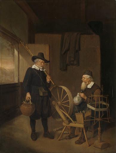 ボビンと糸巻きのそばに漁師と男がいる部屋の中