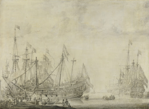 戦いの後の船