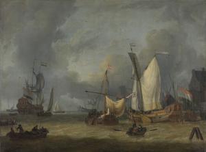 嵐(強風の中の港の船)