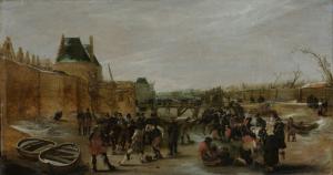 街の凍った運河での遊び
