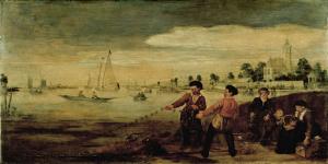 アムステルダム、「クジャク庭園」近郊の、アムステル川岸にいる漁師
