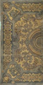 角でプッティが遊んでいる、装飾的な天井画