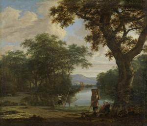 正方形の網と漁師の風景