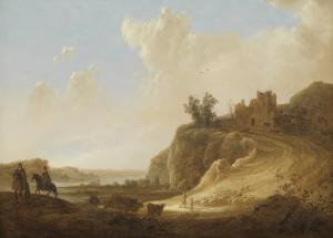 城の廃墟がある、山の風景