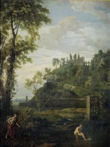 サルマシスとヘルマフロディトスがいるアルカディアの風景