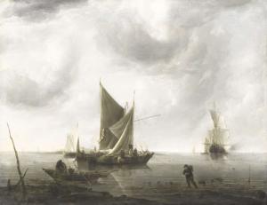 穏やかな海で碇を下ろす船