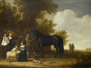 風景の中の集団の肖像(野外のパーティー)