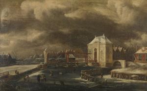 冬のアムステルダム、ヘイリヘウェフス港