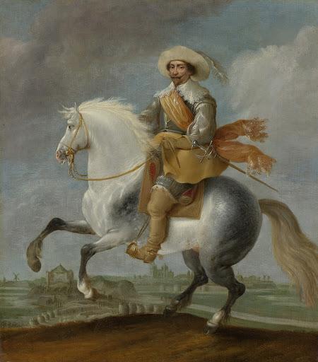 1629年、ヘルトヘンボッシュの要塞の外で馬に乗っている、フレデリック・ヘンドリック王子